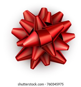 Realistic red satin bow for gift isolated on white. Vector illustration.
