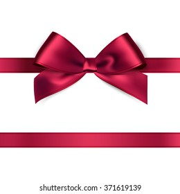 Realistic red satin ribbon on white background. Vector illustration
