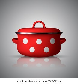 realistic red saucepan isolated on background. vector illustration