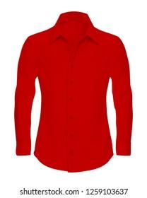 Realistic Red Shirt Mockup Vector