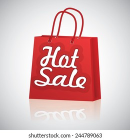 Realistic red shopping bag rope handles, text hot sale with raflection on grey glossy background.