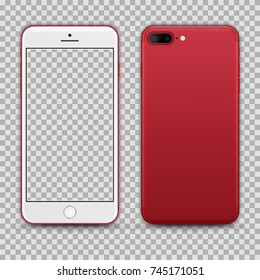 Realistic Red Smartphone with Transparent Screen Isolated. Front and Back Display View For Print, Web, Application. High Detailed Device Mockup Separate Groups and Layers. Easily Editable Vector.