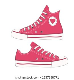 realistic red sneakers vector illustration
