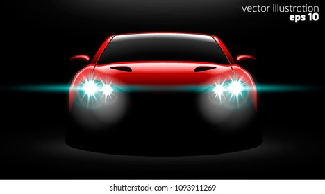 realistic red sport car view with unlocked headlights in the dark