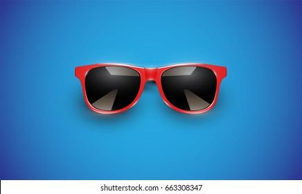 Realistic red sunglasses on blue background, vector illustration
