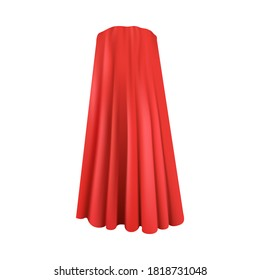 Realistic red superhero cape seen from back view isolated on white background - luxury silk cloak for super hero or vampire costume. Vector illustration.