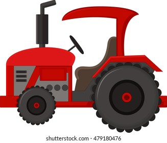 Realistic red tractor icon, logo, shape with big wheels isolated with smoke on white background