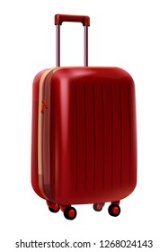 Realistic Red Travel Suitcase