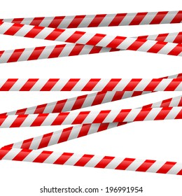 Realistic red and white danger tape. Illustration on white background