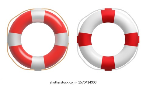 Realistic red and white lifebuoy whith a rope. Vector safety torus