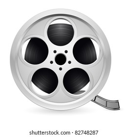 Realistic reel of film. Illustration on white background