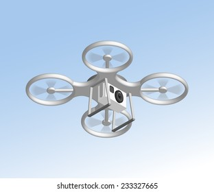 Realistic remote air drone quadrocopter with camera flying in the sky and monitoring security. Isomertic view