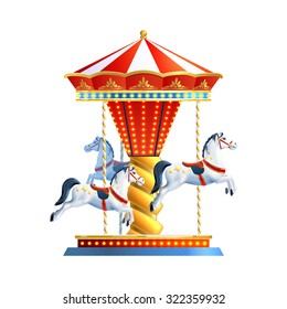 Realistic retro carousel with three colored horses isolated on white background vector illustration