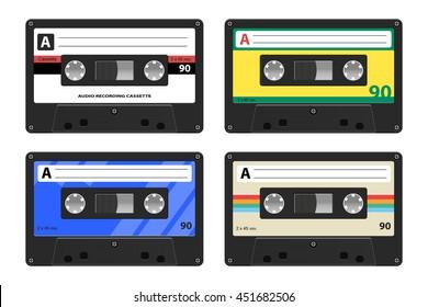 Realistic Retro Cassettes Isolated vector