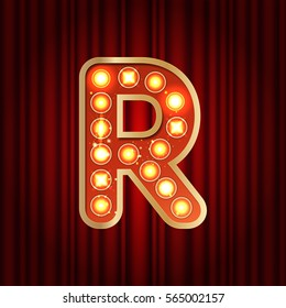 Realistic retro gold lamp bulb font letter R. Part of alphabet in vintage casino and slots style.  Vector shine symbol of alphabet with golden light and sparkles on red curtains background show style