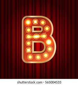 Realistic retro gold lamp bulb font letter B. Part of alphabet in vintage casino and slots style.  Vector shine symbol of alphabet with golden light and sparkles on red curtains background show style