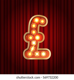 Realistic retro gold lamp bulb font money symbol pound. Part of alphabet in vintage casino and slots style.  Vector shine symbol of alphabet with golden light and sparkles on red curtains background