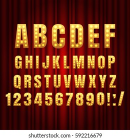 Realistic retro gold lamp font letters. Broadway style light bulb alphabet in vintage casino and slots style.  Vector shine symbols with golden light and sparkles on red curtains background show style