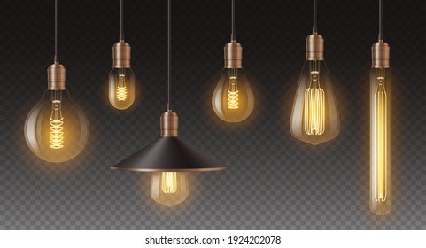 Realistic retro light bulbs set. Decorative vintage design edison lightbulbs of different shapes. Lamps in antique style with copper. 3d vector illustration