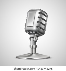 Realistic retro microphone. 3D vintage professionals metal mic on holder, classic record equipment isolated on white background. Vector studio broadcast for radio show