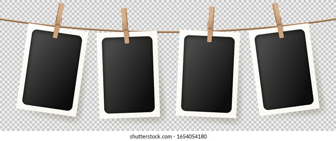 Realistic retro photo frames. Vector illustration with blank photo cards hanging on rope. Mockup concept isolated on transparent background.