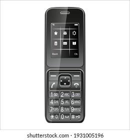 Realistic retro radiotelephone. Vintage design. Isolated on a white background. Vector illustration.