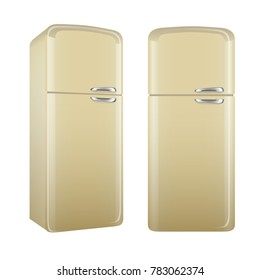 Realistic retro style kitchen refrigerator, painted in beige color. Vector illustration set isolated on white background.