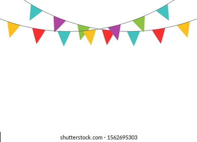 Realistic ribbon on yellow backdrop. Happy carnival. Confetti festive colorful carnival illustration. Celebrate background. EPS 10