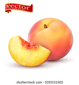 Realistic Ripe peaches, whole and slice. Juicy sweet fruit realistic 3d vector high detail isolated on white background. Ripe peaches, whole and slice. Vector illustration.