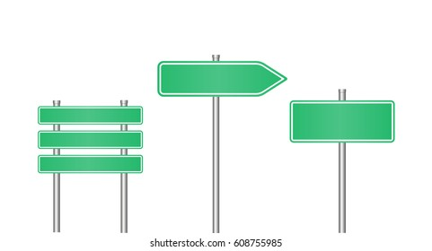 Realistic road sign set . Road sign template for text.