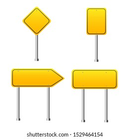 Realistic road signs yellow color on white background. vector illustration.