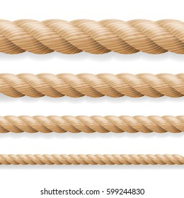 Realistic Rope Vector. Different Thickness Rope Set Isolated On White Background. Illustration Of Twisted Nautical Thick Lines. Graphic String Cord For Borders.