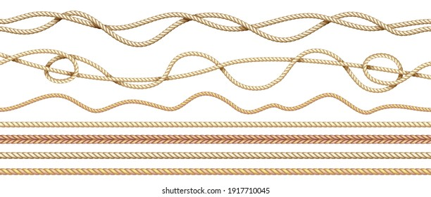 Realistic ropes. 3D natural sailor twisted threads. Seamless jute cords borders with intertwined texture. Isolated straight and curved marine hemp cables. Vector braided twine set in nautical style