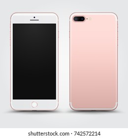 Realistic Rosegold Smartphone with Blank Screen isolated on Background. Front and Back View For Print, Web, Application. High Detailed Device Mockup Separate Groups and Layers. Easily Editable Vector