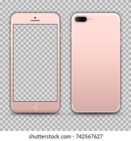 Realistic Rosegold Smartphone isolated on Transparent Background. Front and Back View For Print, Web, Application. High Detailed. Device Mockup Separate Groups and Layers. Easily Editable Vector.