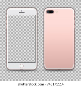 Realistic Rosegold Smartphone with Transparent Screen Isolated. Front and Back Display View For Print, Web, Application. High Detailed Device Mockup Separate Groups and Layers. Easily Editable Vector.