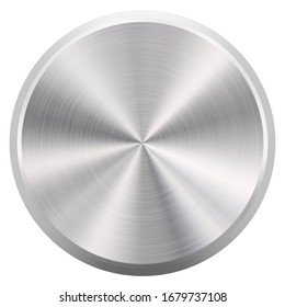 Realistic Round Brushed Metal Button or Knob