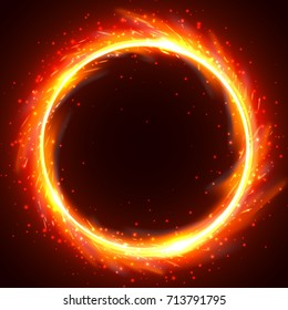 Realistic round light fire flame frame, vector template illustration on black background