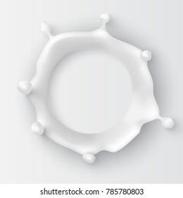Realistic round milk splash, top view