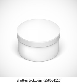 Realistic round package box for products isolated on dark background.