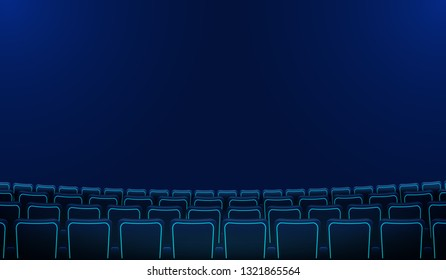 Realistic rows of blue chairs cinema or movie theater seats in the darkness. Cinema auditorium and movie theater empty scene design.Vector flat style cartoon illustration. Movie cinema premiere poster