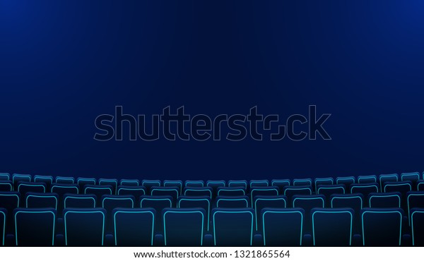 Realistic Rows Blue Chairs Cinema Movie Stock Vector Royalty Free 1321865564