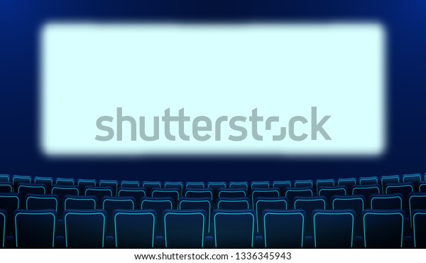Realistic Rows Blue Chairs Cinema White Stock Vector Royalty Free 1336345943