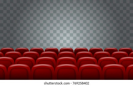 Realistic Rows of red cinema movie theater seats on transparent background.
