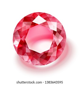 Realistic ruby illustration - vector red diamond