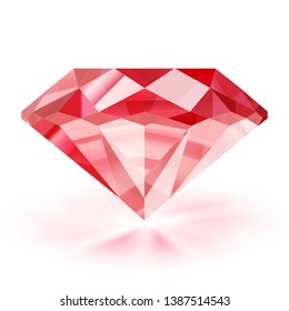 Realistic ruby illustration - vector red diamond on white background