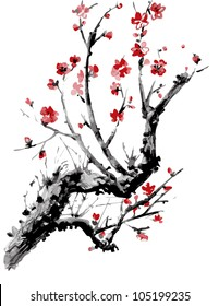 Realistic sakura blossom - Japanese cherry tree isolated on white background. Vector watercolor painting.