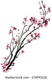 фотообои Realistic sakura blossom - Japanese cherry tree isolated on white background. Vectorization watercolor painting.