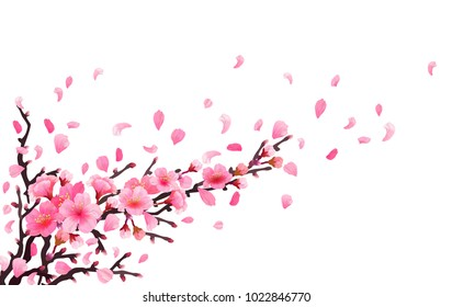 Realistic sakura japan cherry branch with blooming flowers. Spring fresh pink design. flying downwind petals on wind. Vector illustration stock vector.