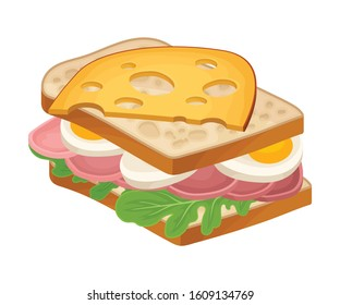 Realistic Sandwich with Greenery and Wurst Vector Food Item. Fast Food Concept